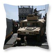 U.s. Marines Load An M1114 Humvee Onto Throw Pillow
