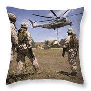 U.s. Marines Observe Ch-53e Super Throw Pillow