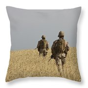 U.s. Marines Patrol A Wadi Near Kunduz Throw Pillow
