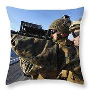 U.s. Marines Practice Firing Throw Pillow