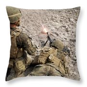 U.s. Marines Provide Suppressive Fire Throw Pillow