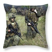U.s. Marines Secure A Perimeter Throw Pillow