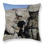 U.s. Marines Take A Break Throw Pillow