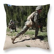 U.s. Marines Training At The Mountain Throw Pillow by Stocktrek Images