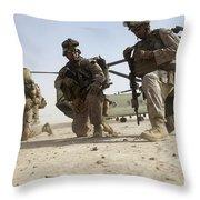 U.s. Marines Unloading Throw Pillow
