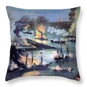 U.s. Navy Destroys Rebel Gunboats Throw Pillow
