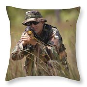 U.s. Navy Diver Engages The Target Throw Pillow