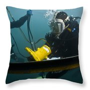 U.s. Navy Diver Instructs A Barbados Throw Pillow
