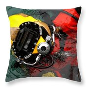 U.s. Navy Diver Is Lowered Throw Pillow by Stocktrek Images