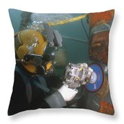 U.s. Navy Diver Uses A Grinder To File Throw Pillow by Stocktrek Images