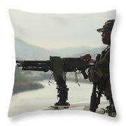 U.s. Navy Petty Officer Stands Watch Throw Pillow