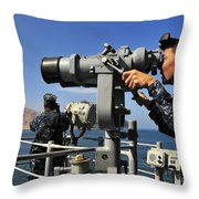 U.s. Navy Sailors Observe The Coastline Throw Pillow