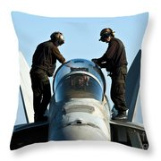 U.s. Navy Sailors Wipe Down The Canopy Throw Pillow
