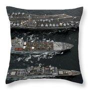 U.s. Navy Ships Conduct A Replenishment Throw Pillow