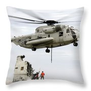 U.s. Sailors Assist A Ch-53d Sea Throw Pillow