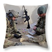 U.s. Soldiers Count Money Found While Throw Pillow