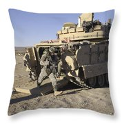 U.s. Soldiers Exit From An M2 Bradley Throw Pillow