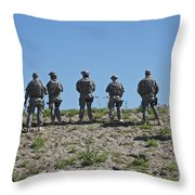 U.s. Soldiers Looking Over The Side Throw Pillow