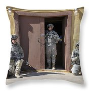U.s. Soldiers On Guard At Fort Irwin Throw Pillow