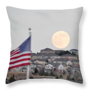 Usa Flag And Moon Throw Pillow