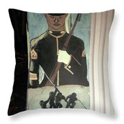 Usmc Mural  Throw Pillow