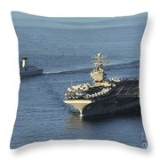 Uss Abraham Lincoln And French Navy Throw Pillow