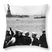 Uss Pennsylvania Sailors Cheer Throw Pillow