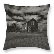 Utah Barn In Black And White Throw Pillow