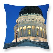 Utah State Capitol Building Dome At Sunset Throw Pillow