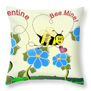 Valentine Bee Mine Throw Pillow