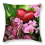 Valentine Heart And Flowers Throw Pillow