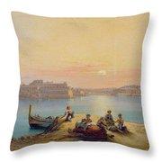 Valetta Harbour At Sunset Throw Pillow