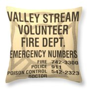 Vallet Stream Fire Department In Sepia Throw Pillow