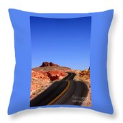 Valley Of Fire Road And Sky Nevada Throw Pillow