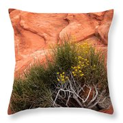 Valley Of Fire Yellow Vegetation Nevada Throw Pillow