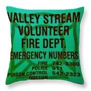 Valley Stream Fire Department In Irish Green Throw Pillow