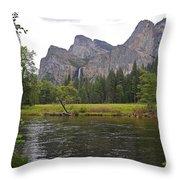 Valley View Of Bridalveil Falls Throw Pillow