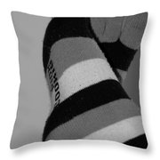 Val's Feet In Black And White Throw Pillow