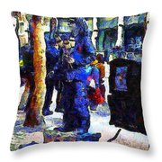 Van Gogh Is Captivated By A San Francisco Street Performer . 7d7246 Throw Pillow