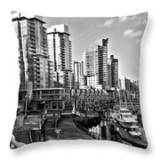 Vancouver Harbour Bw Throw Pillow