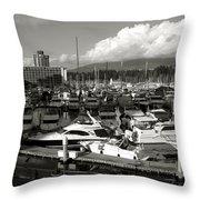 Vancouver Marina Throw Pillow by Kamil Swiatek