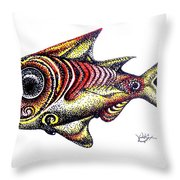 Variegated Red Fish In Stipple Throw Pillow