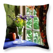Vase Of Flowers And Mug By Window Throw Pillow