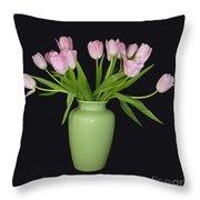 Vase Of Pink Tulips Throw Pillow