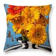 Vase With Gerbera Daisies  Throw Pillow