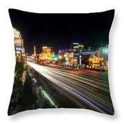 Vegas Light Trails Throw Pillow