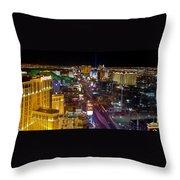Vegas Strip At Night Throw Pillow