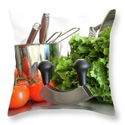 Vegetables With Kitchen Pots And Utensils On White  Throw Pillow by Sandra Cunningham