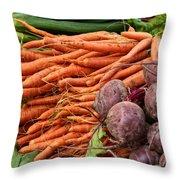 Veggies At The Farmer's Market Throw Pillow by Jarrod Erbe