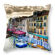 Venice Canal Taxi Throw Pillow